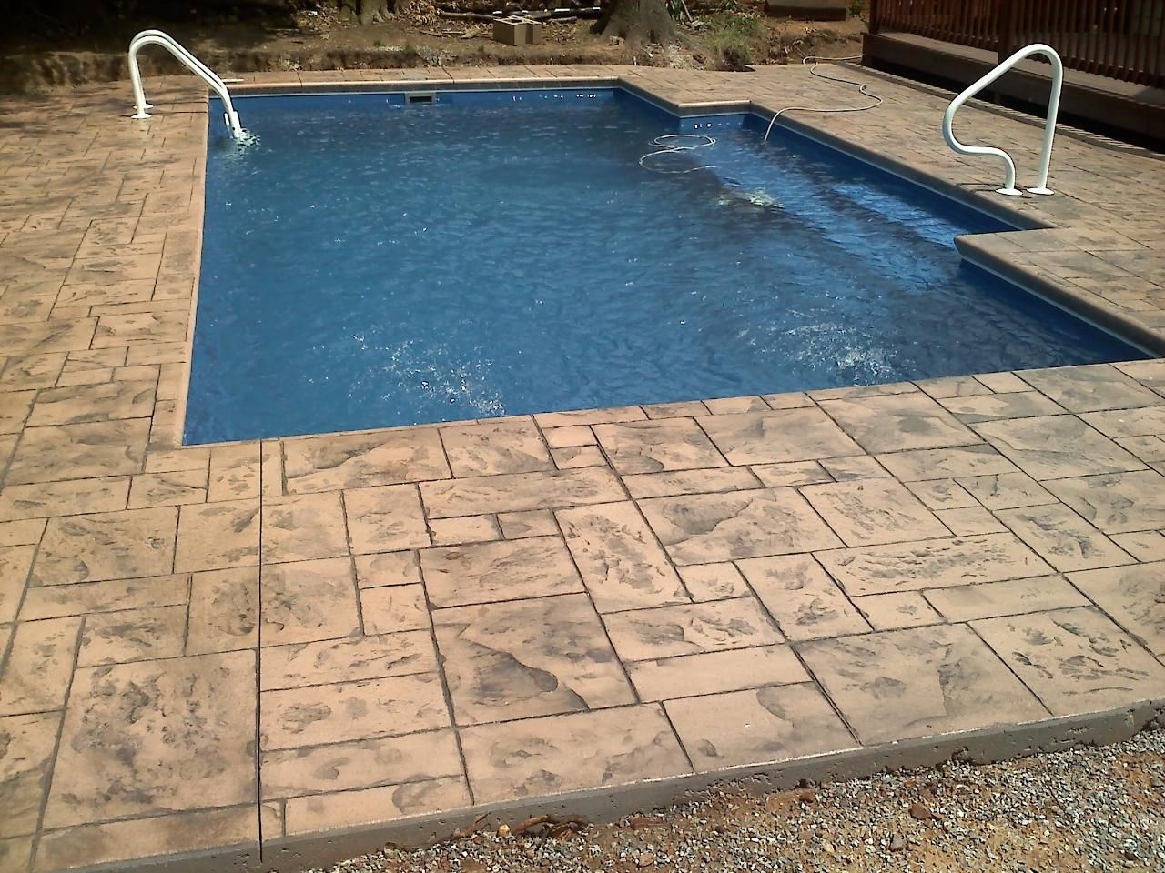 Elegance Style Fiberglass Pool With Sandstone Grand Ashler Slate Stamped Concrete Fiberglass Pools Fiberglass Swimming Pools Pool