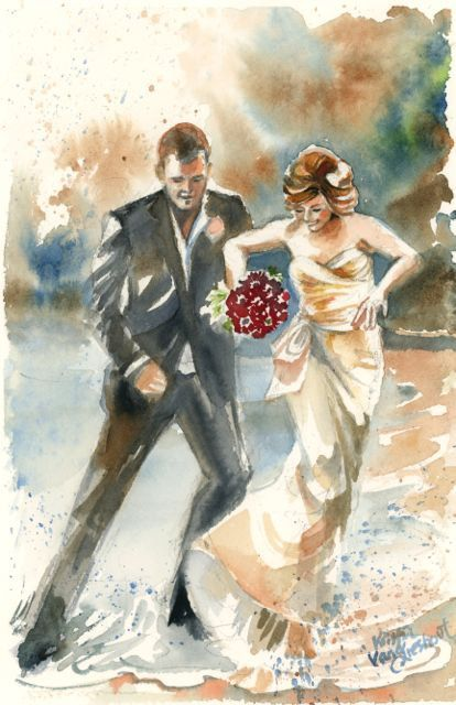 Paper Anniversary Custom Wedding Watercolor Art Portrait