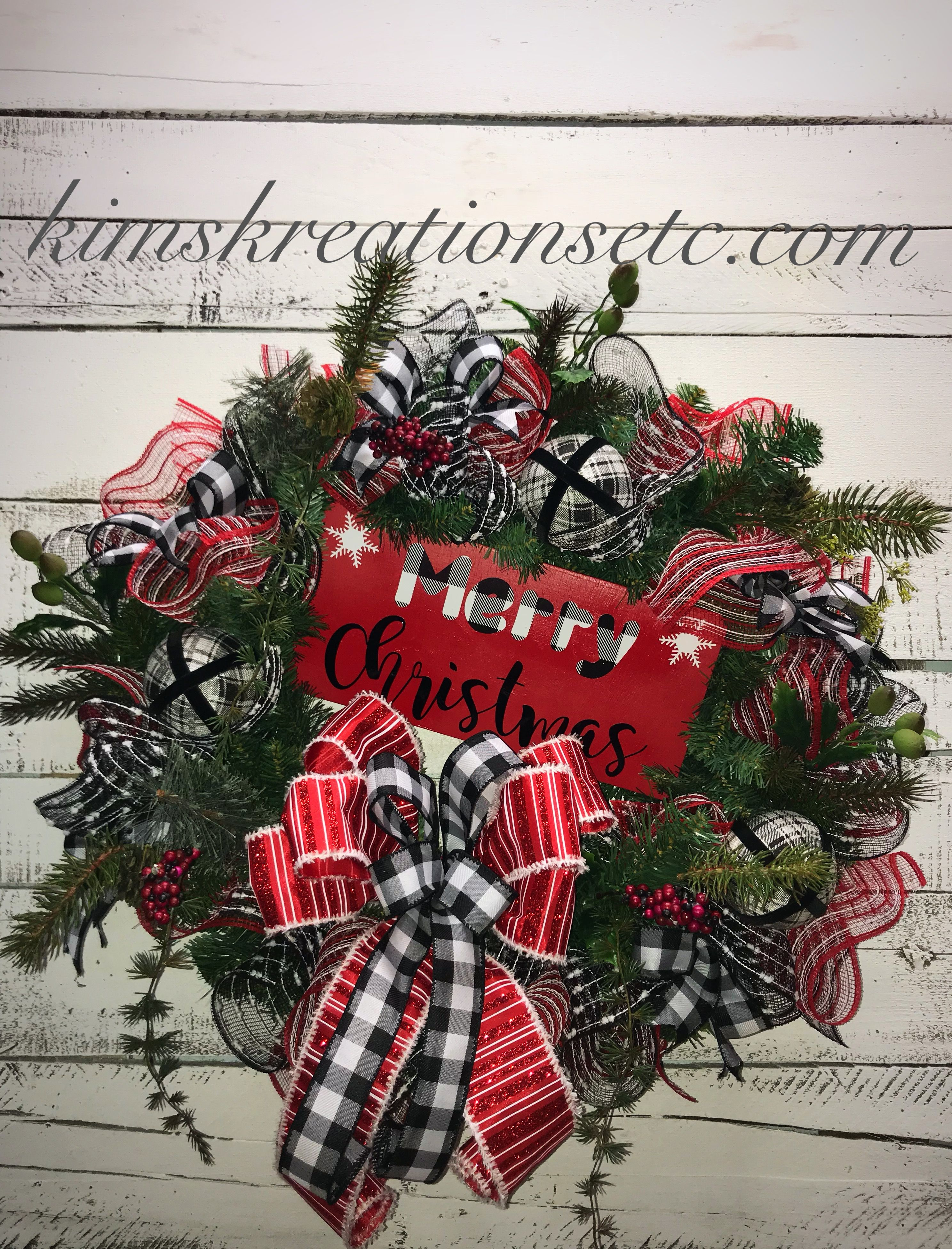 Christmas Wreath Holiday Wreath Christmas Wreath For Front Door Merry Christmas Wreath Black And White Buffalo Plaid Red Black And White Christmas Wreath Christmas Pine Wreath Traditional Christmas Wreath Home Decor Decorative