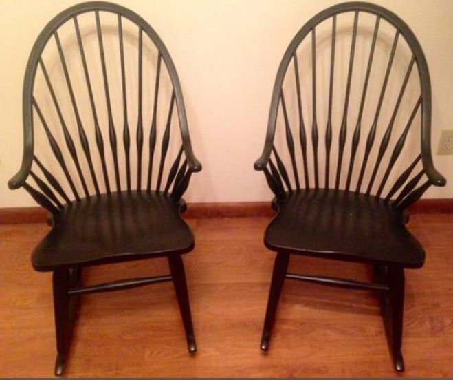 Fantastic Broyhill Attic Heirlooms Windsor Rocking Chairs In Black Andrewgaddart Wooden Chair Designs For Living Room Andrewgaddartcom