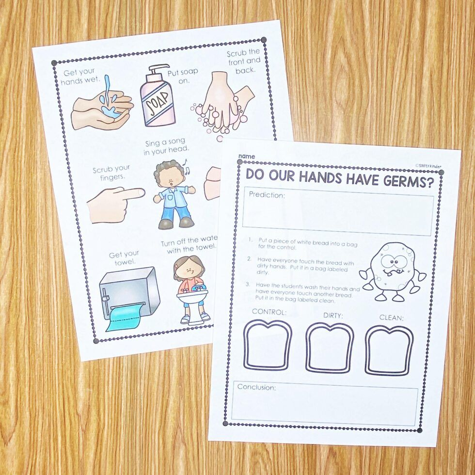 Free Hand Washing Book For Kids Simply Kinder Simply Kinder Kids Journal School Germs [ 980 x 980 Pixel ]