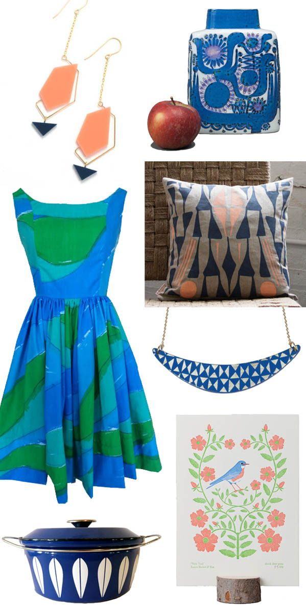 Inspired by Atlanta's hydrangeas, a roundup of vintage and handmade products in cool blues