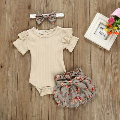3PCS Newborn Baby Girl Outfits Clothes Tops Romper + Floral Shorts Pants Set | eBay