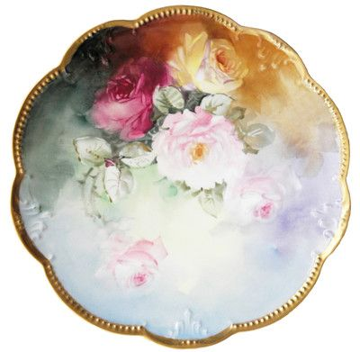 Antique Limoges AKD Hand Painted Large Plate Charger Roses Klingenberg Dwenger | eBay