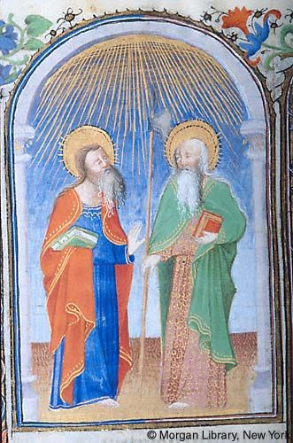 Book of Hours, MS M.1000 fol. 213v - Apostles Simon and Jude, decorated nimbi with rays, stand under rays of light emanating from above. Simon holds book with two straps in draped right hand, raising left hand. Apostle Jude holds axe, or halberd, in right hand, and book with left hand.