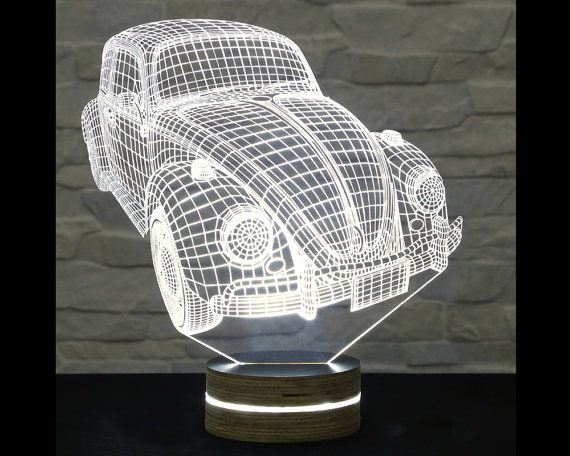 Volkswagen Beetle Shape Bedside Lamp 3d Led Lamp Kids Room Decor Art Lamp Nursery Light Plexiglass Lamp Decorative Lamp 3d Led Lamp Art Lamp Lamp Decor