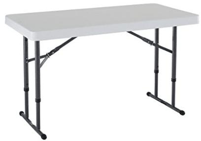 Lifetime Commercial Height Adjustable Folding Utility Table 4 Feet White Granite
