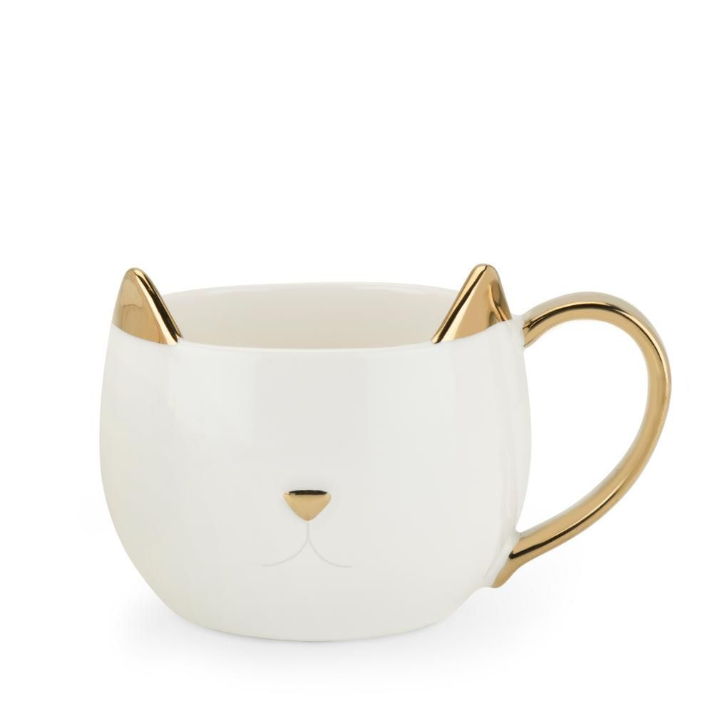 Pinky Up Chloe 12 oz. White Cat Mug 5385 - The Home Depot