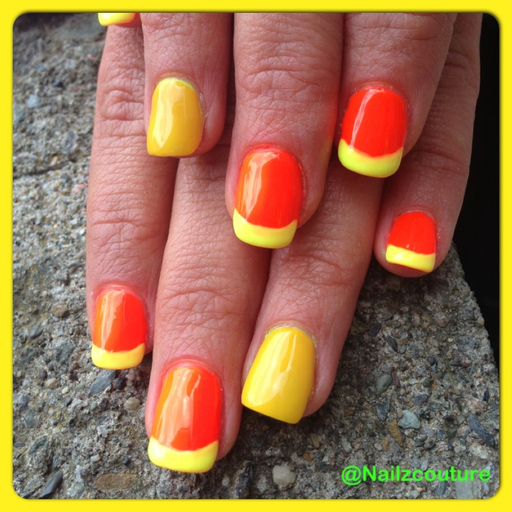 Neon french nails | French nails, Nails, Fun nails