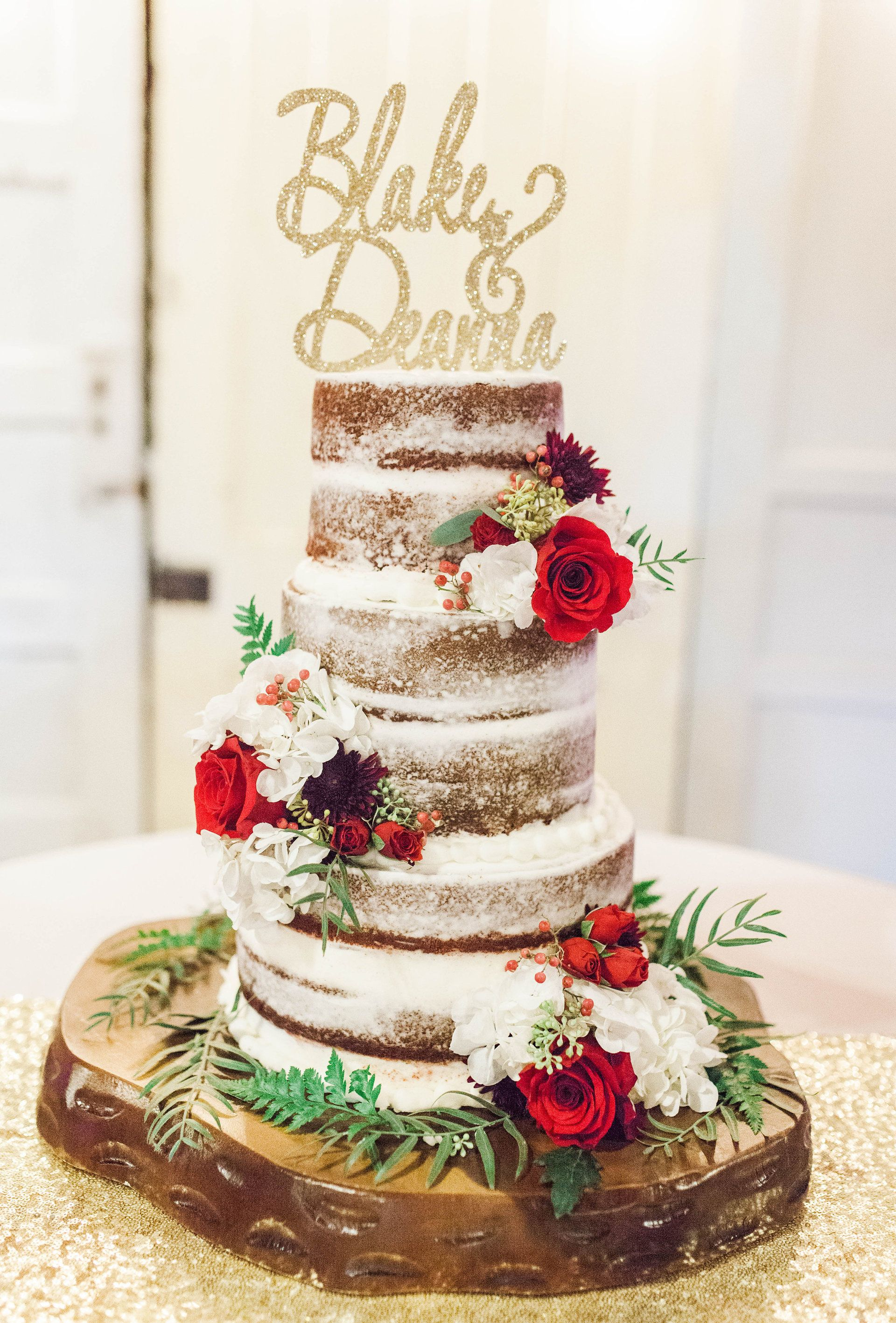 Rustic wedding cake, couple name wedding cake topper ...