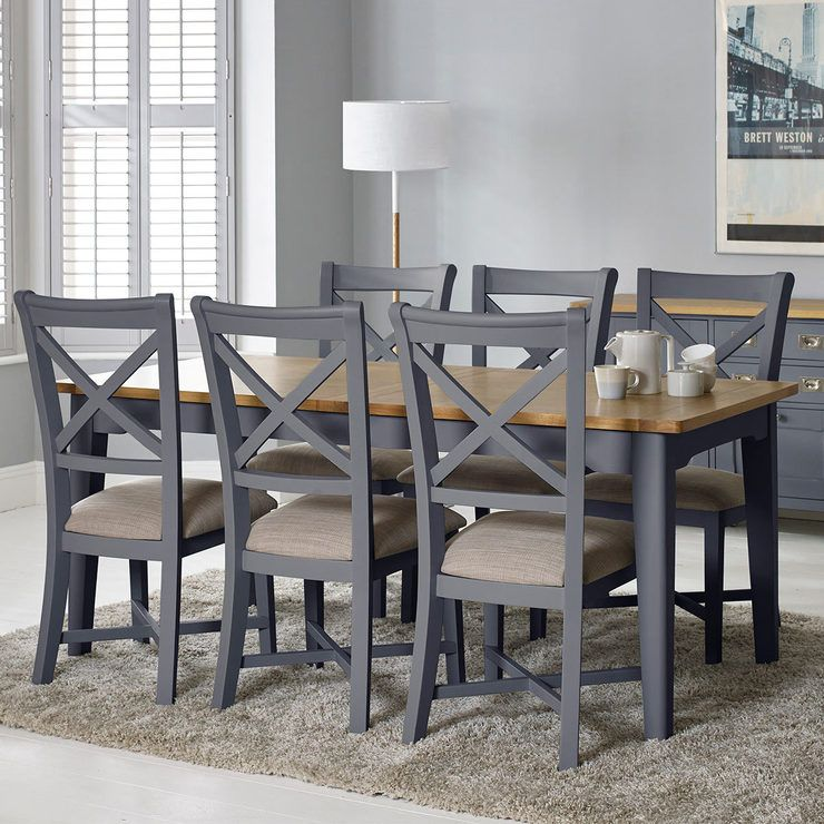Bordeaux Painted Taupe Large Extending Dining Table 6 Chairs