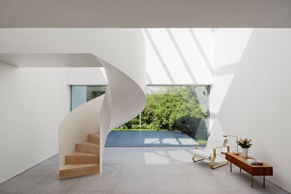 Rather than being enclosed in a small space, this staircase has a