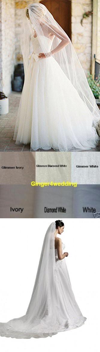 Ginger Wedding 1t Cut Edge Bridal Veil Extra Wide Handmade Royal Diamond White