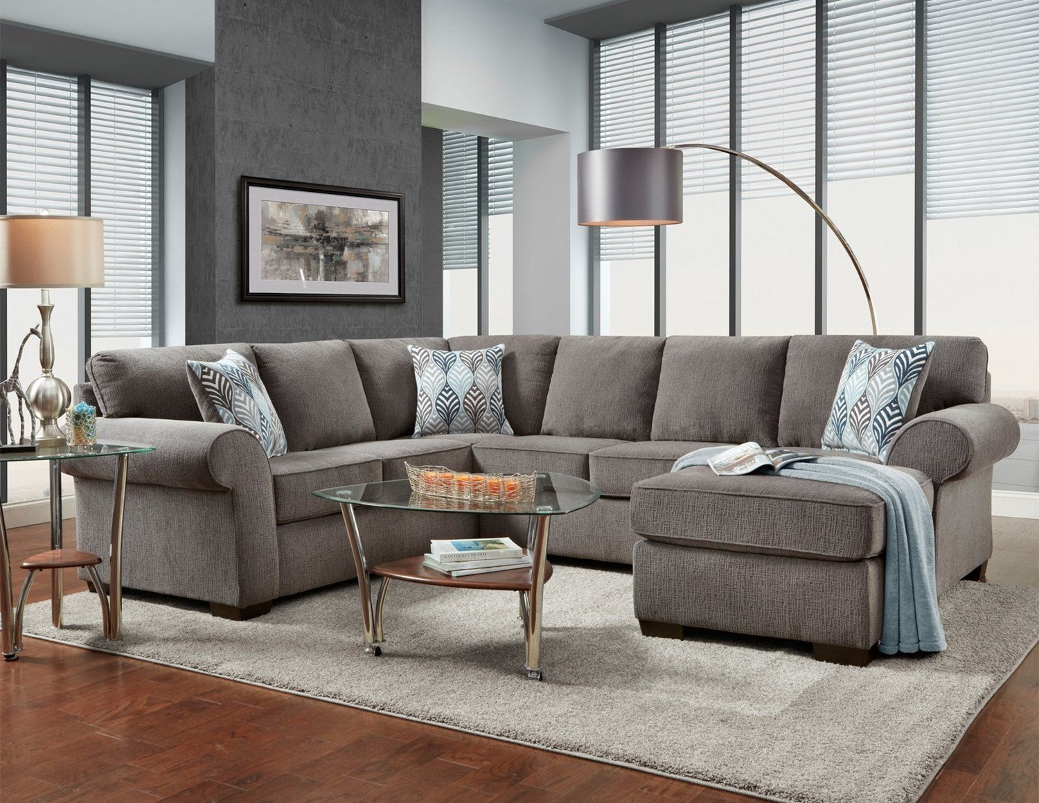 Affordable Furniture Charisma Smoke Sectional Sofa