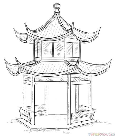 How to draw how the Chinese Pagoda step by step. Drawing