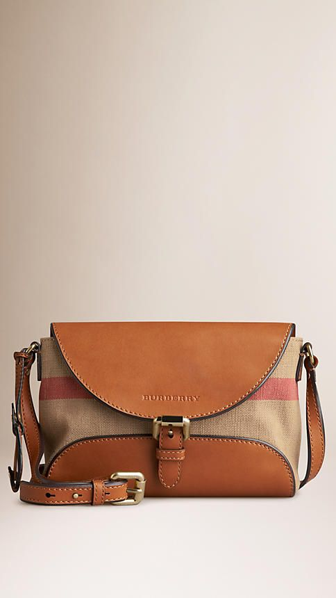 d2272396a25e Saddle brown Small Canvas Check and Leather Crossbody Bag - Image 1 ...