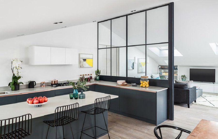 Cucina con vetrata che divide dal salotto nel 2019 | Cucine ...
