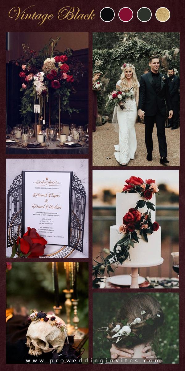 Vintage Intricate Black Laser Cut Gate-folded Wedding Invitation PWIL122 - Pro Wedding Invites