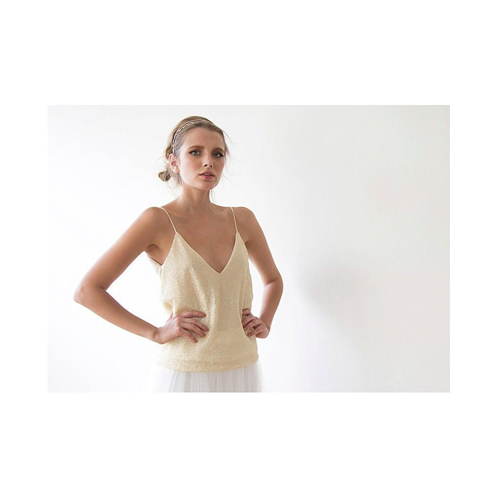 Beach wedding dresses for guest  Cream open back sequin top  Sequin top and Products