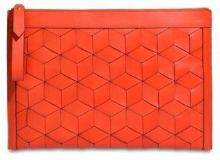 Welden Geometric Leather Improviser Laptop Case, Tomato Red -- A stylish piece for your travels, this laptop case is made of vibrant cowhide leather in a handwoven stacked cube design with matching trim. Inside, the case is fully lined and padded for protection, while the exterior is finished with light gold-plated hardware.