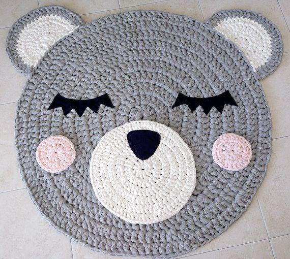 Bear Crochet Rug Bear Rug Handmade Rug Kids Rug Corchet Rug Kids