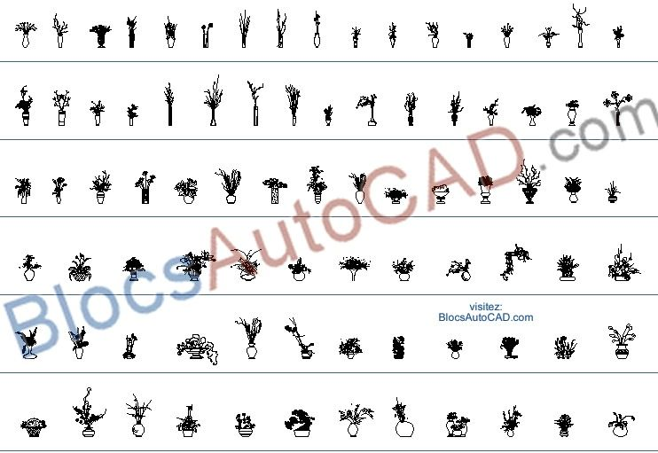 82 Haute Qualité Autocad Blocs Autocad Dwg Plantes En Pot
