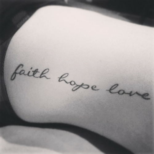 "Little hip tattoo saying ""faith hope love"" on Danielle ..."
