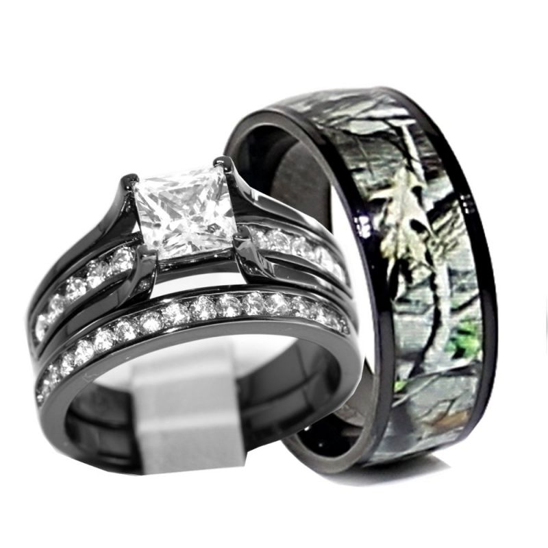his and hers 925 sterling silver titanium camo wedding rings set black rwc06sp26b - Camo Wedding Rings For Him