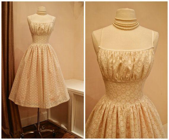 50s Style Cotton Eyelet Wedding Dress // Xtabay Original Ivory Eyelet Lace Tea Length Wedding Dress
