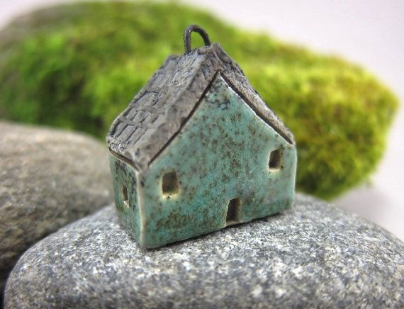 Mossy GREEN...Saggar Fired Rustic House Pendant / by elukka