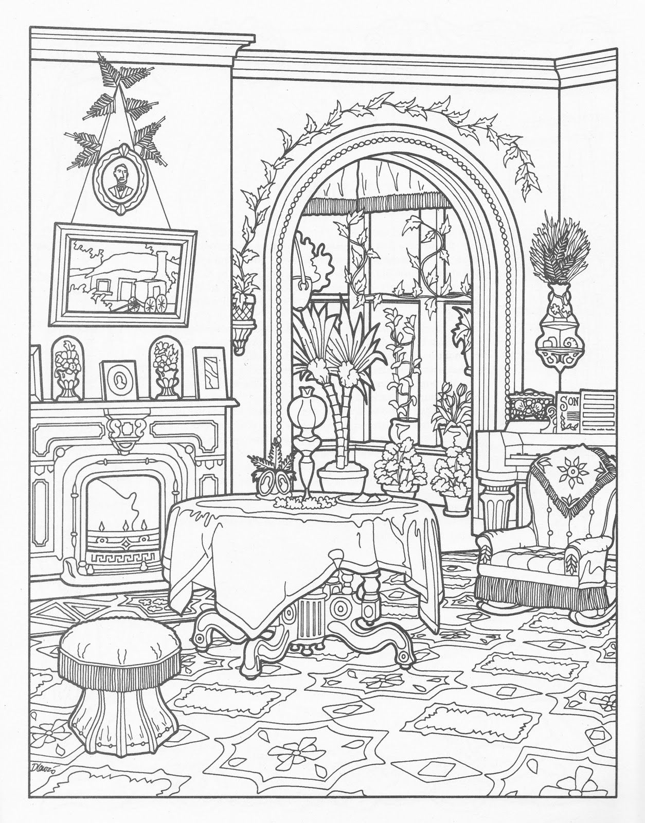 Coloring pages furniture - Victorian House Coloring Pages Victorian House Colour