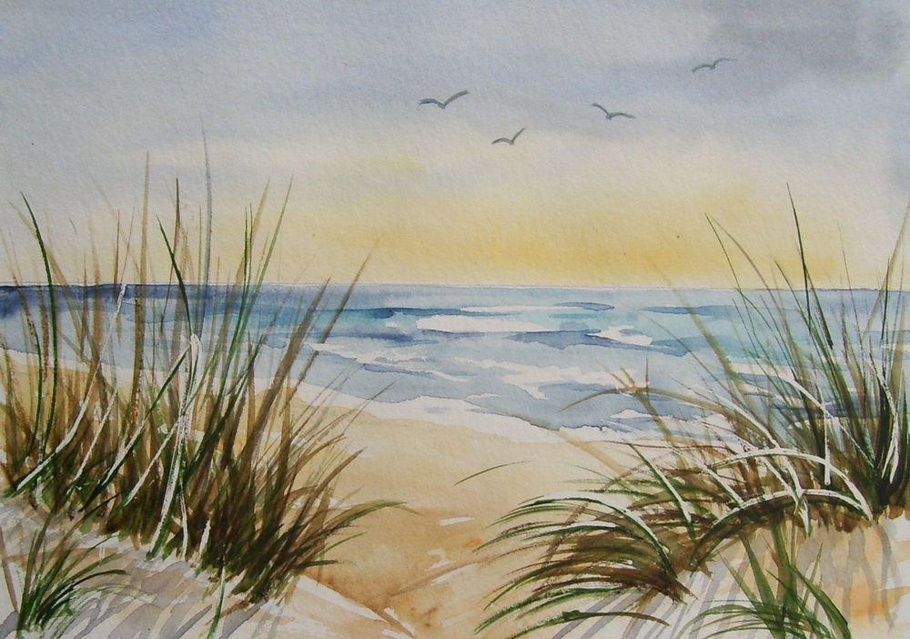 Am Strand 21 X 15 Cm Original Aquarell Meer Dunen In Antiquitaten