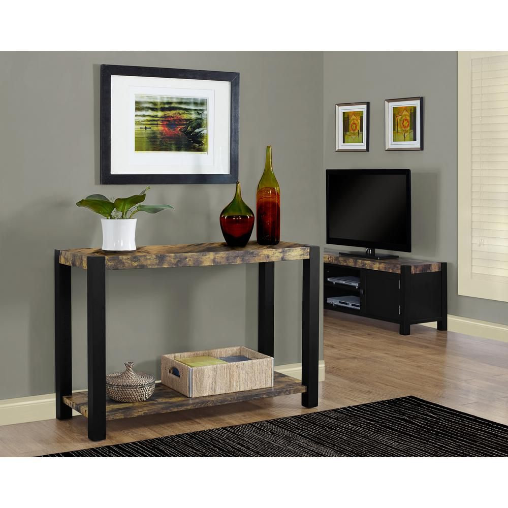 Distressed Reclaimed-Look and Black 48 in. L Console Table, Black Reclaimed Wood Look