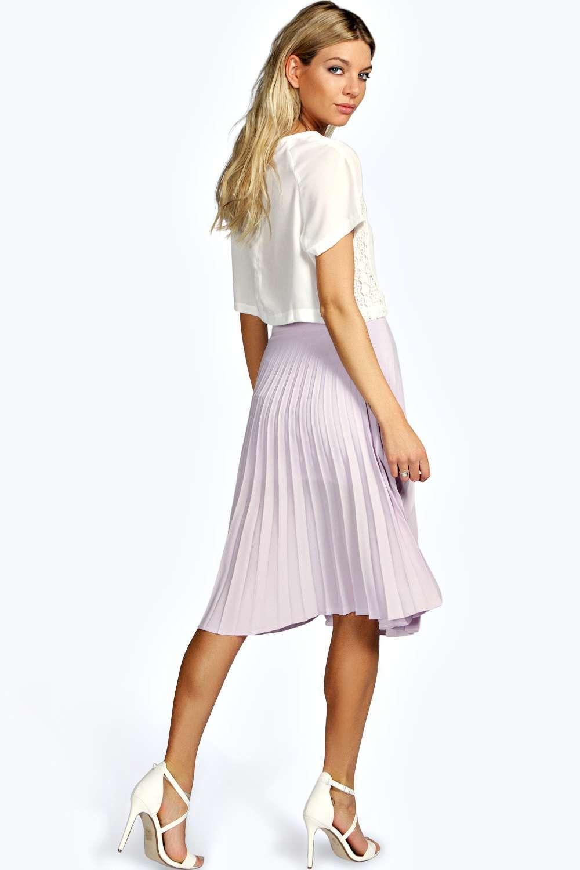 e15b01ead Holly All Over Pleated Crepe Midi Skirt at boohoo.com ...