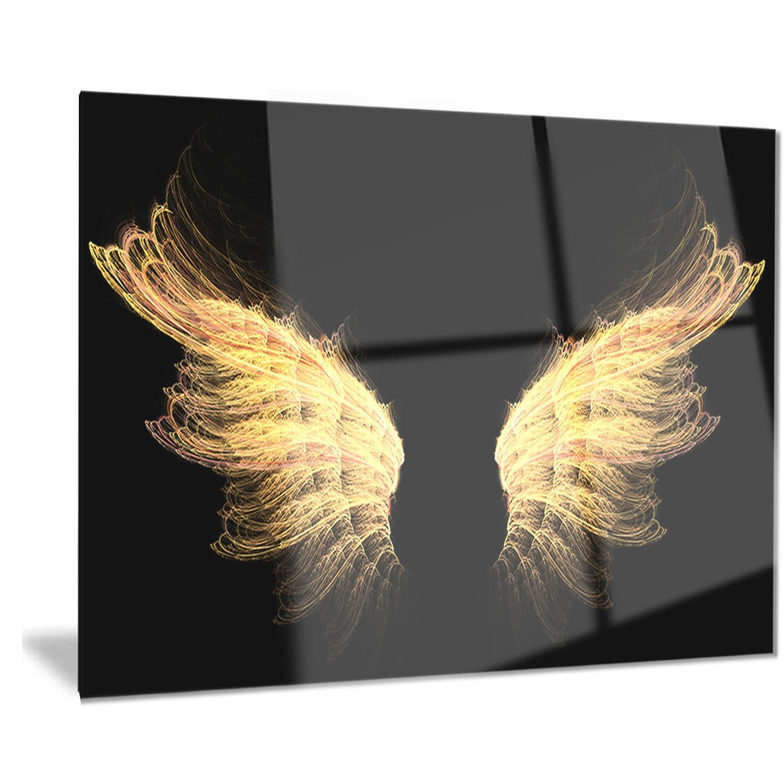 Designart uhell gold wingsu abstract digital art metal wall art