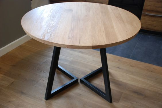 Extendable Round Table Modern Design Steel And Timber Tisch