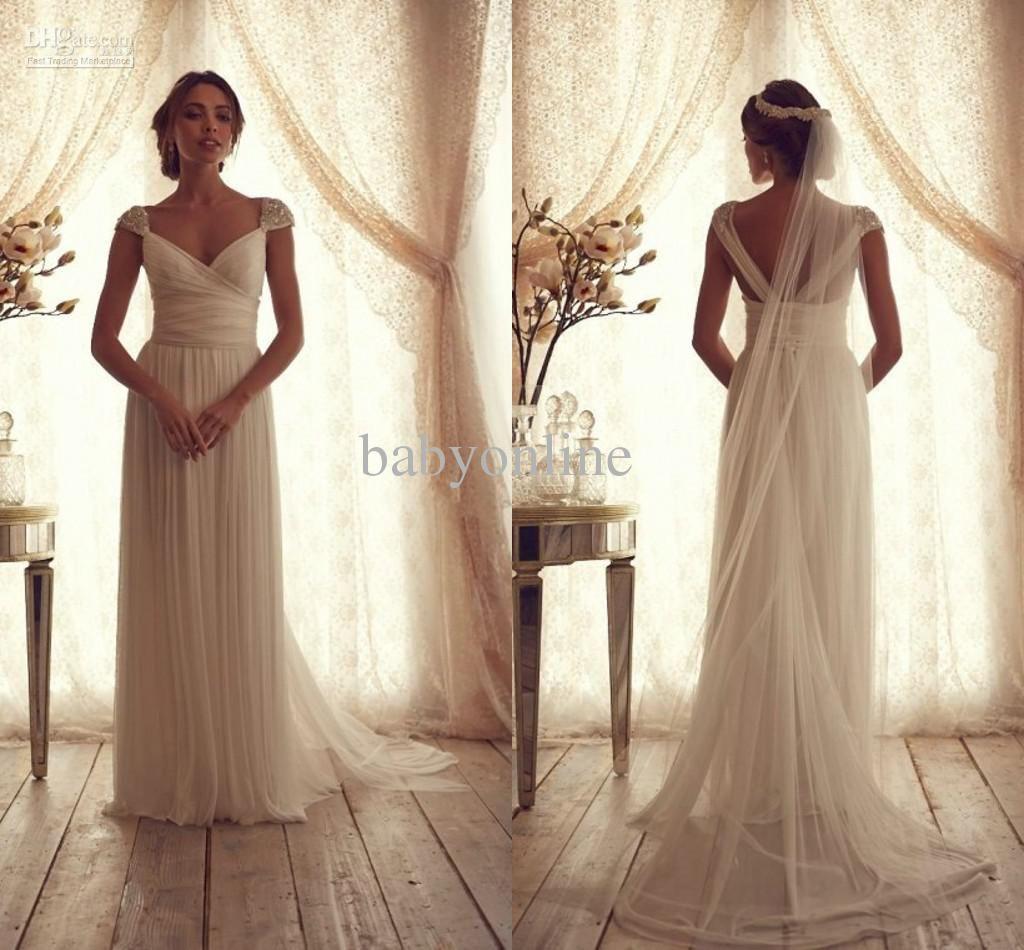 Aline chiffon wedding dress cap sleeve vneck empire waist