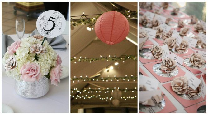 Pink and white wedding decor and escort cards // found on Modern Jewish Wedding Blog // Photographer: Elizabeth Burgi Photography