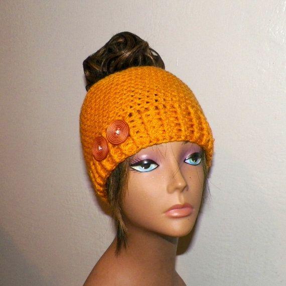 a16e60953 Yellow Bun Hat Messy Beanie Pony Tail Gold by wildirishrosecrochet ...