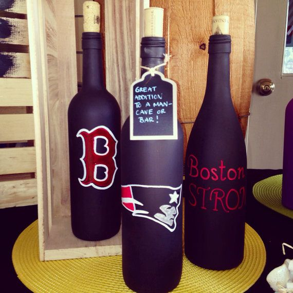 Wine Themed Kitchen Paint Ideas: Sports Themed Painted Wine Bottles By BottlesByMissy On