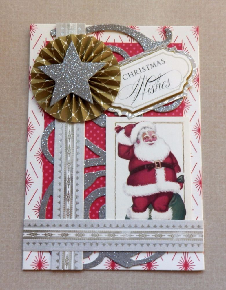 A Handmade CHRISTMAS Card & Envelope Anna Griffin Design & Supplies Embellished  #AnnaGriffin #Christmas
