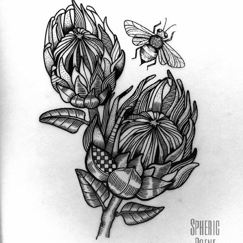 Image result for protea flower tattoo