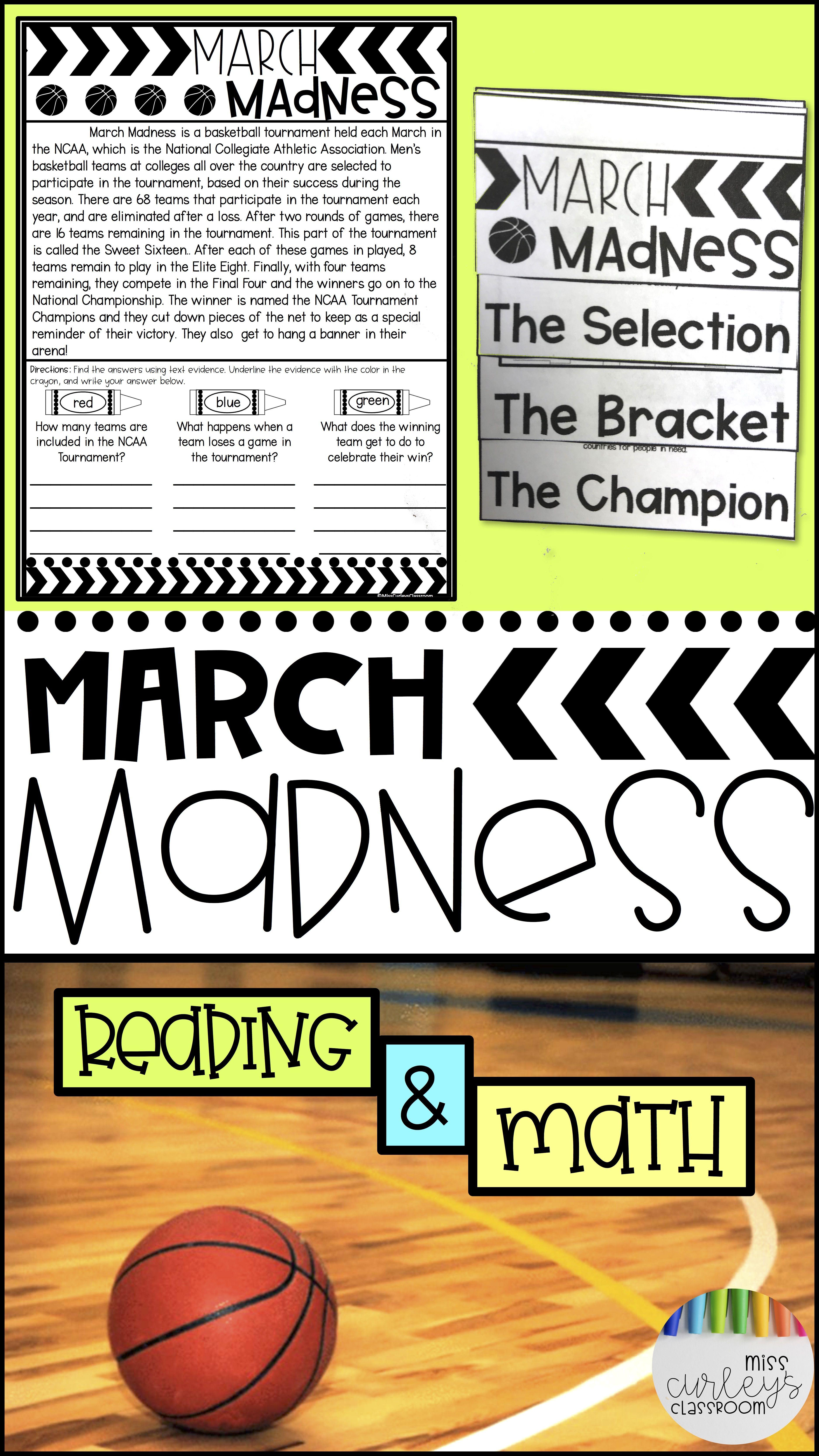 March Madness Unit Basketball Themed Math Amp Literacy