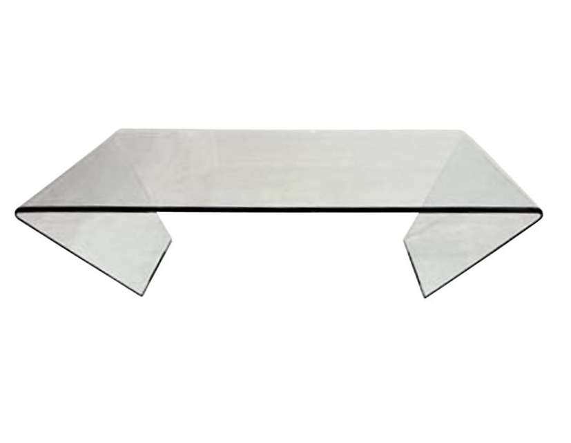Modern Bent Glass Coffee Table Square Or Rectangular Shape