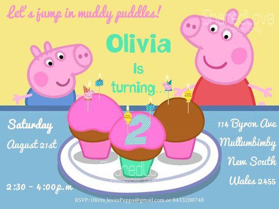 Peppa pig children custom birthday party invitation cupcake theme peppa pig children custom birthday party invitation cupcake theme with or without photo girl filmwisefo Images