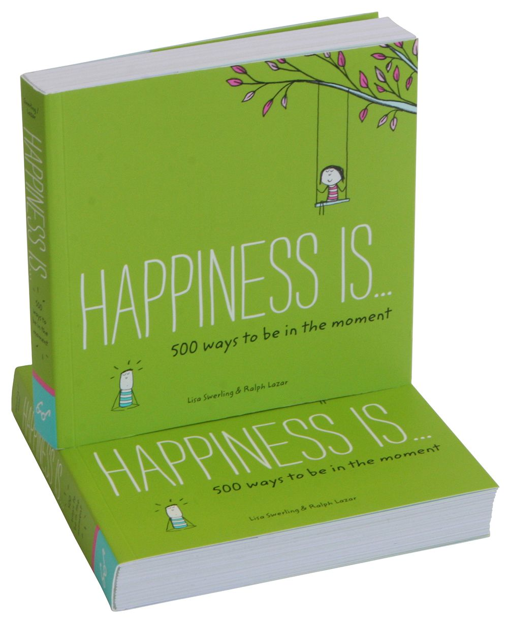 Illustrated guidebook by award winning artists shows you 500 ways to happiness through mindfulness.