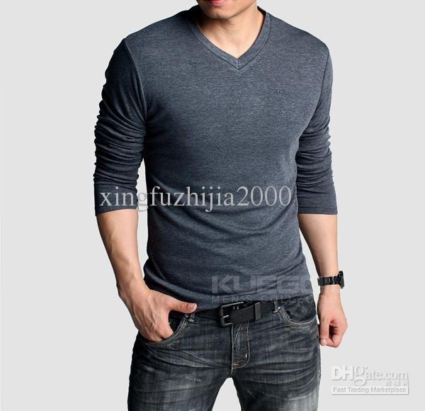 Plain Blank Long Sleeve Men's Button Collar T-Shirt (H) | CoOl ...