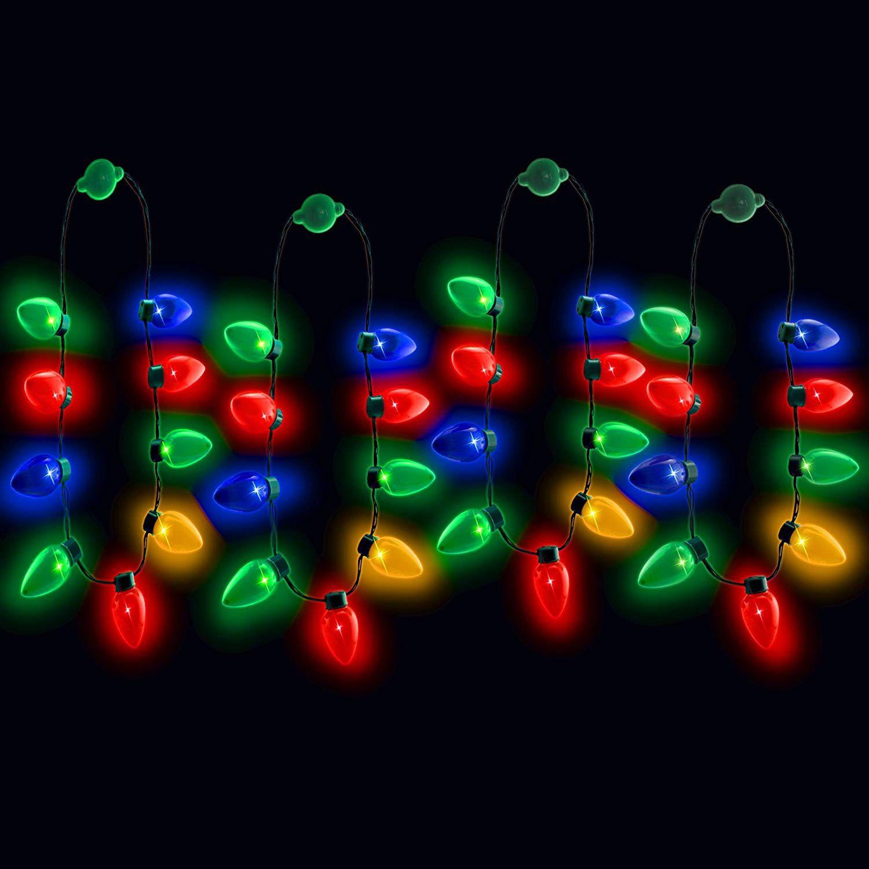 Amazon Com Windy City Novelties Led Light Up Christmas Bulb Necklace Party Favors Family 4 Pack T Windy City Novelties Christmas Bulbs Led Lights
