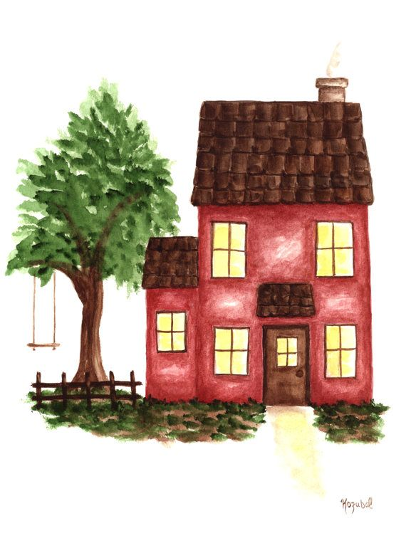 Red House Drawing: Original Watercolor Painting Red House Green Tree By