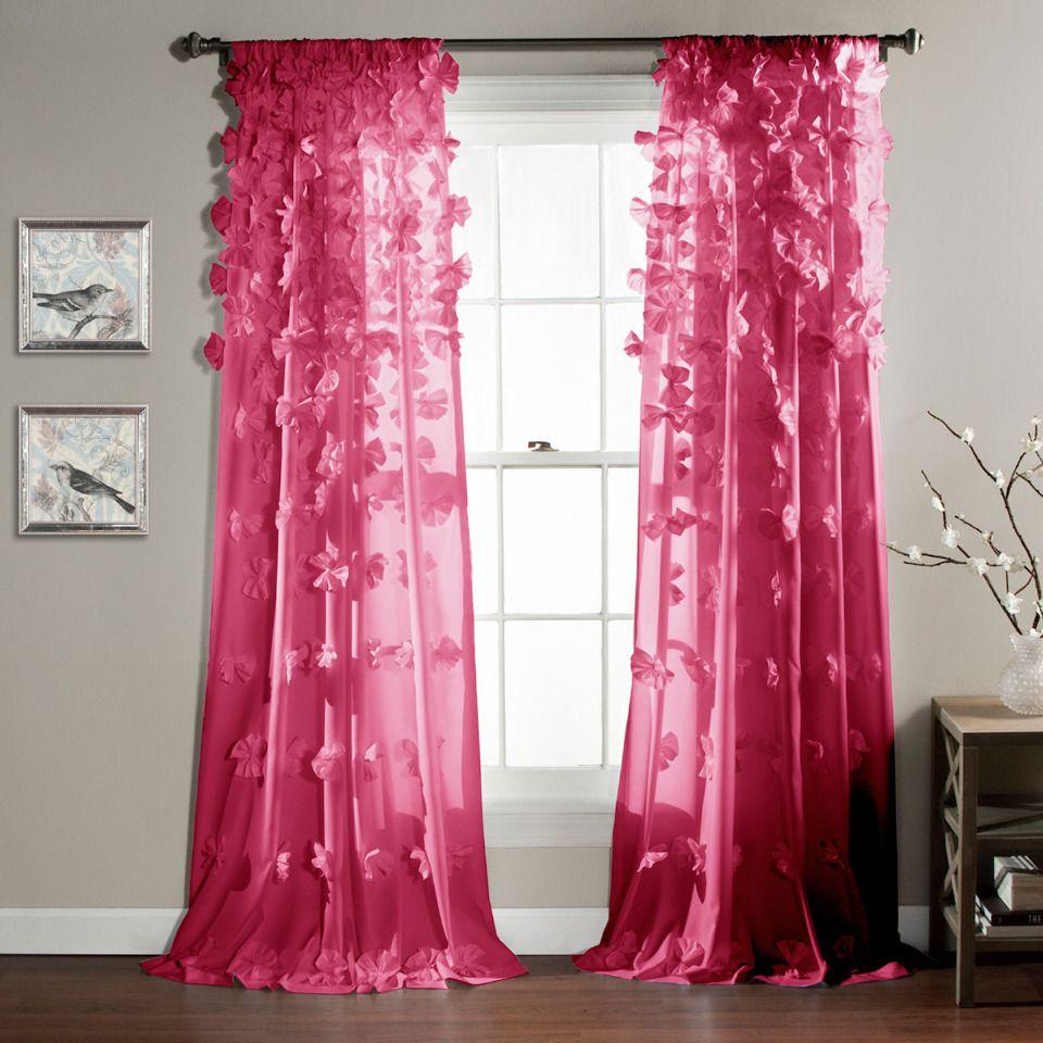 Window Lush Decor Riley Curtain In Hot Pink